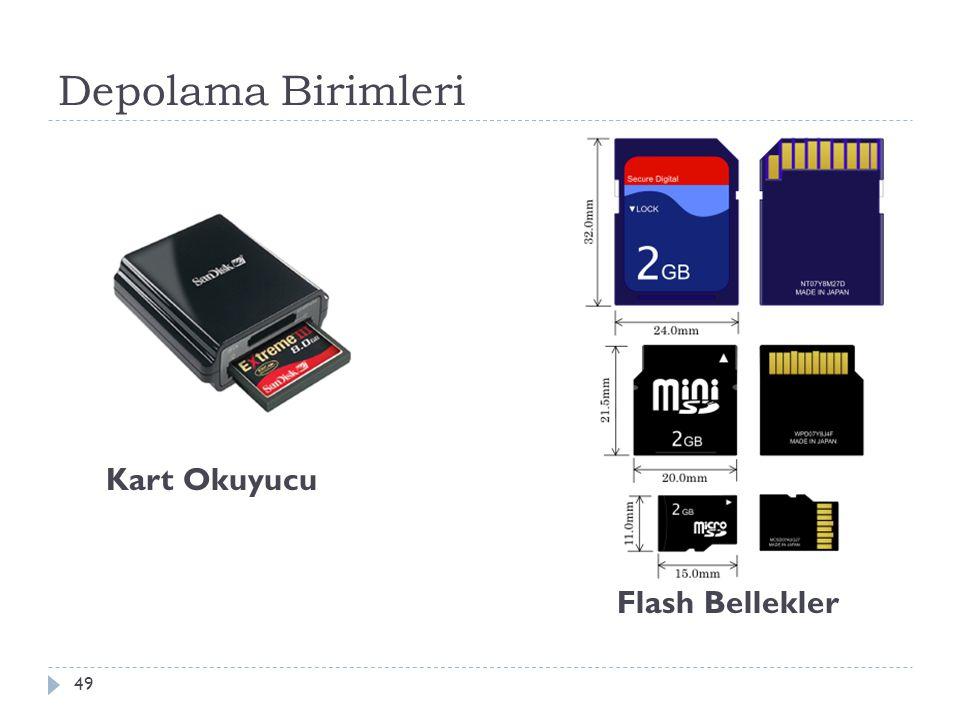 Depolama Birimleri 50  USB Flash Bellekler  USB arabirime sahip flash belleklerdir.