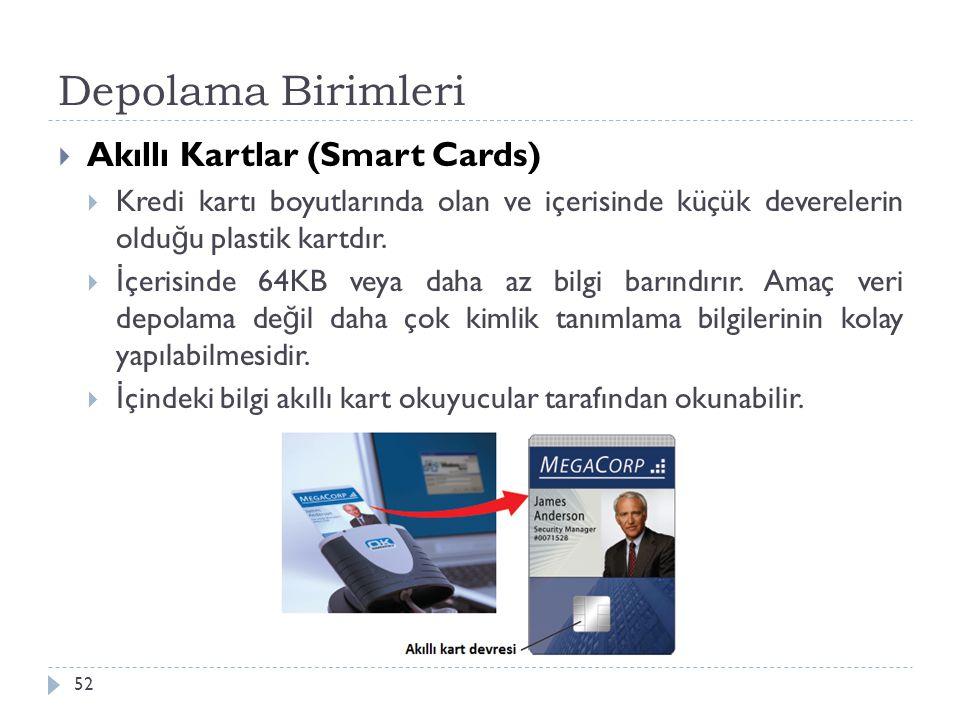 Depolama Birimleri 52  Akıllı Kartlar (Smart Cards)  Kredi kartı boyutlarında olan ve içerisinde küçük deverelerin oldu ğ u plastik kartdır.