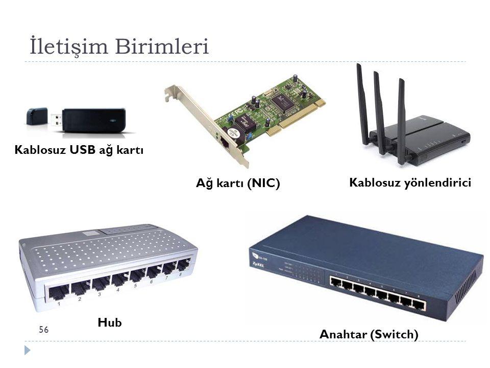 İletişim Birimleri 56 A ğ kartı (NIC) Kablosuz USB a ğ kartı Hub Anahtar (Switch) Kablosuz yönlendirici