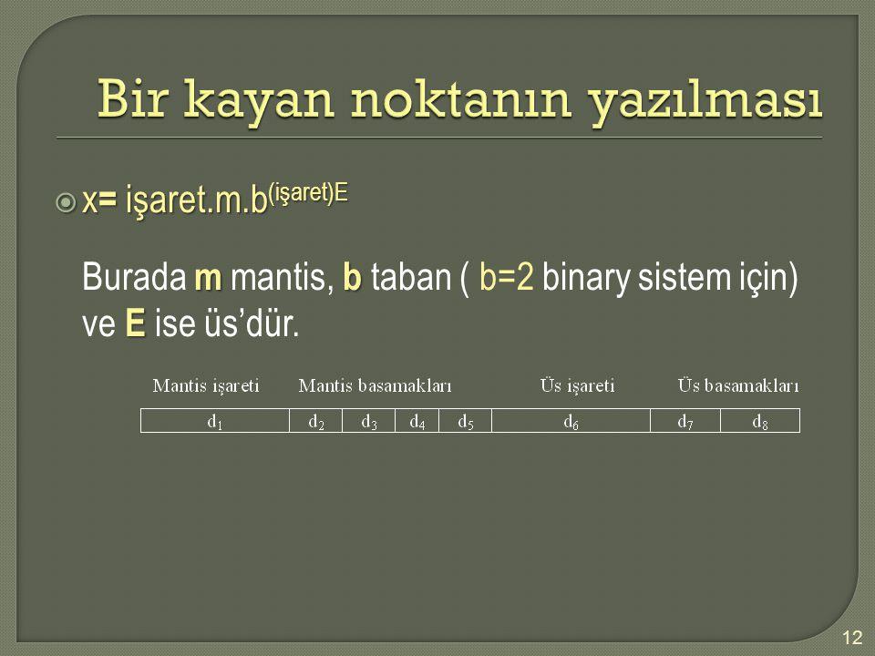  x = işaret.m.b (işaret)E mb E Burada m mantis, b taban ( b=2 binary sistem için) ve E ise üs'dür. 12