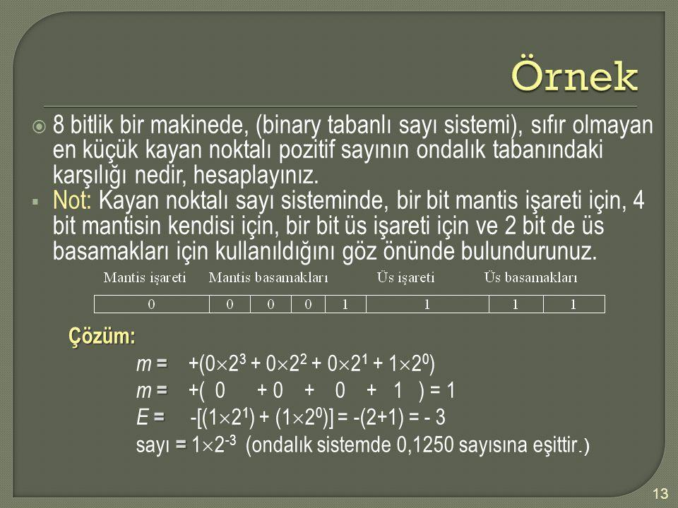  8 bitlik bir makinede, (binary tabanlı sayı sistemi), sıfır olmayan en küçük kayan noktalı pozitif sayının ondalık tabanındaki karşılığı nedir, hesa