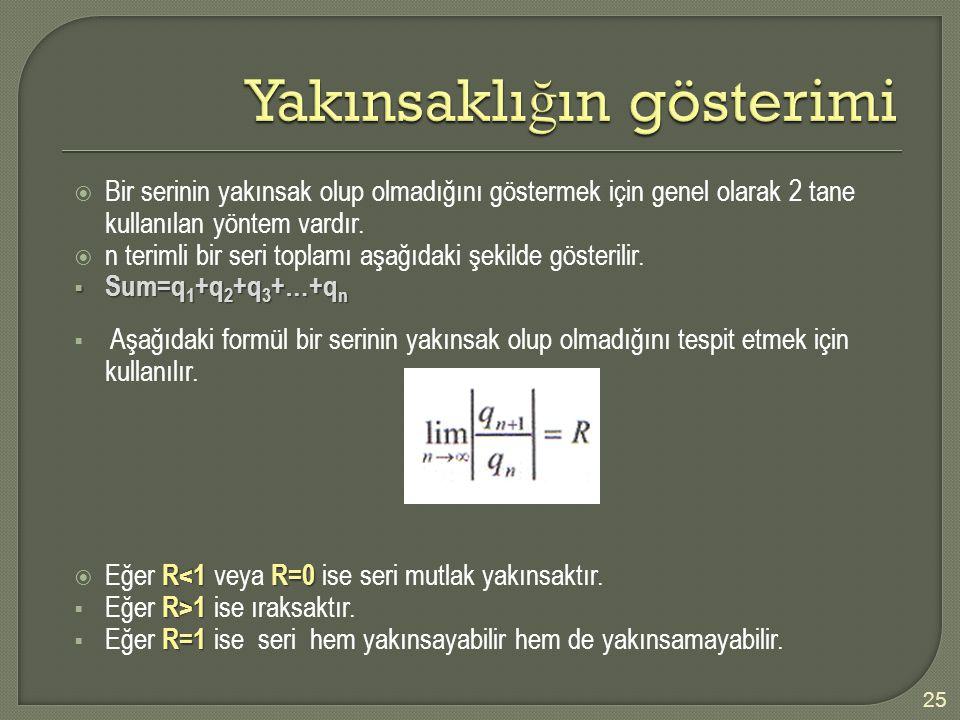 25  Bir serinin yakınsak olup olmadığını göstermek için genel olarak 2 tane kullanılan yöntem vardır.  n terimli bir seri toplamı aşağıdaki şekilde
