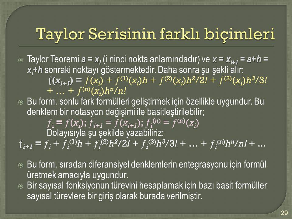 a = x i x = x i+1 = a+h = x i + h  Taylor Teoremi a = x i (i ninci nokta anlamındadır) ve x = x i+1 = a+h = x i + h sonraki noktayı göstermektedir. D