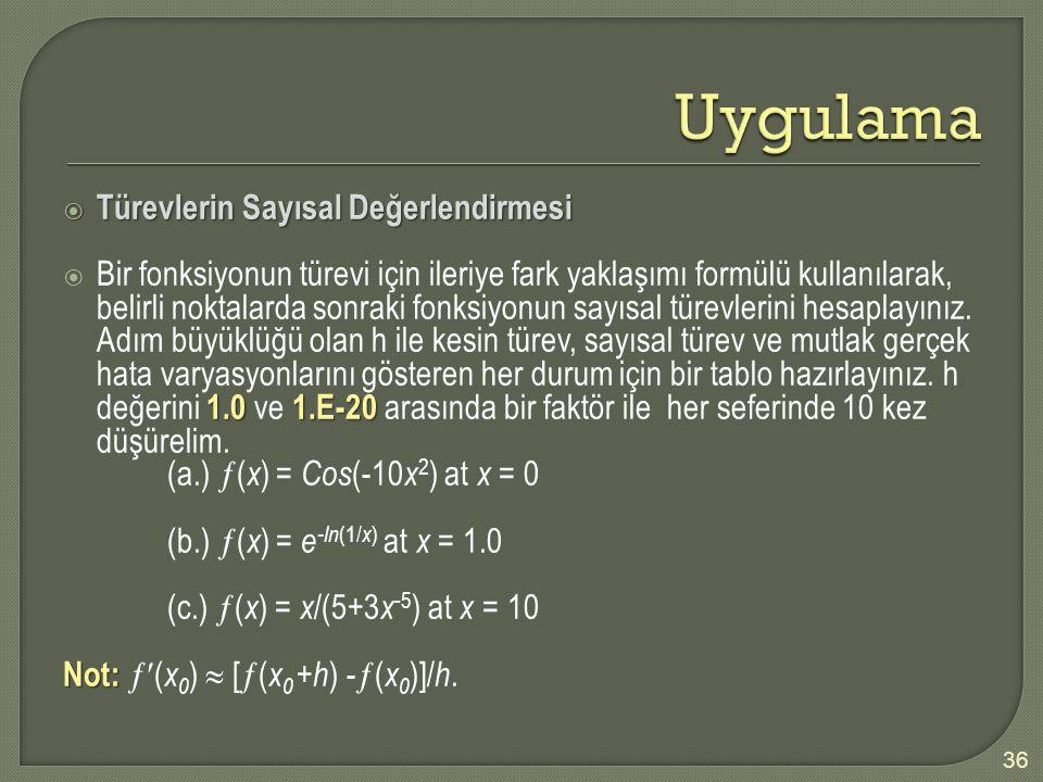  Türevlerin Sayısal Değerlendirmesi 1.01.E-20  Bir fonksiyonun türevi için ileriye fark yaklaşımı formülü kullanılarak, belirli noktalarda sonraki f