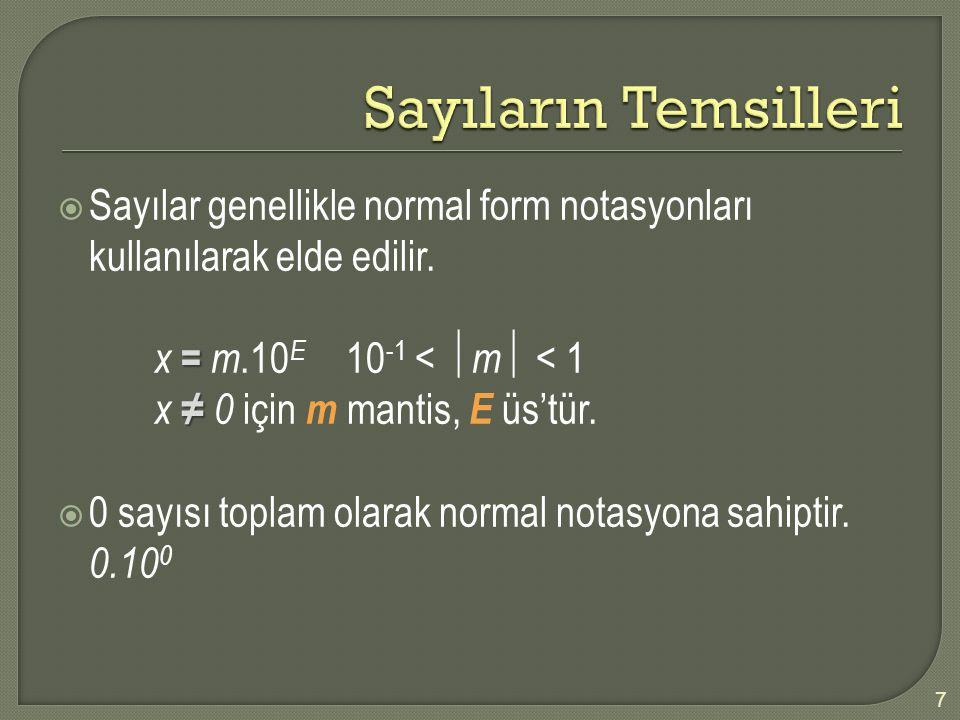  Sayılar genellikle normal form notasyonları kullanılarak elde edilir. = x = m.10 E 10 -1 <  m  < 1 ≠ x ≠ 0 için m mantis, E üs'tür.  0 sayısı top