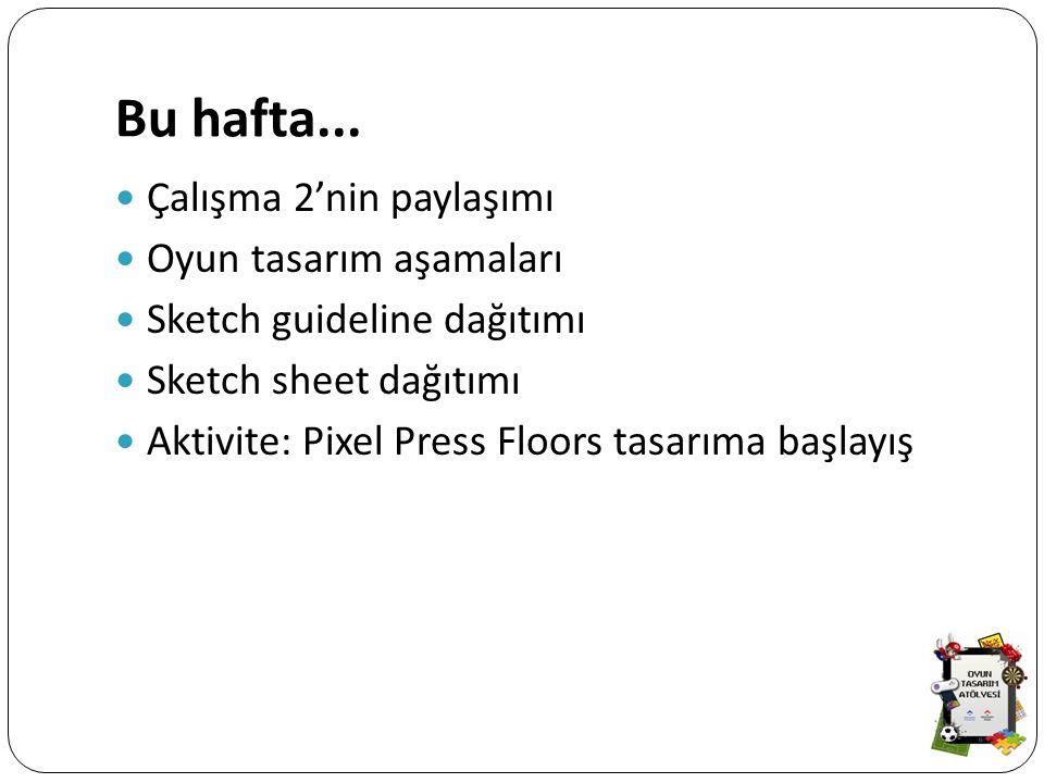 Bu hafta... Çalışma 2'nin paylaşımı Oyun tasarım aşamaları Sketch guideline dağıtımı Sketch sheet dağıtımı Aktivite: Pixel Press Floors tasarıma başla