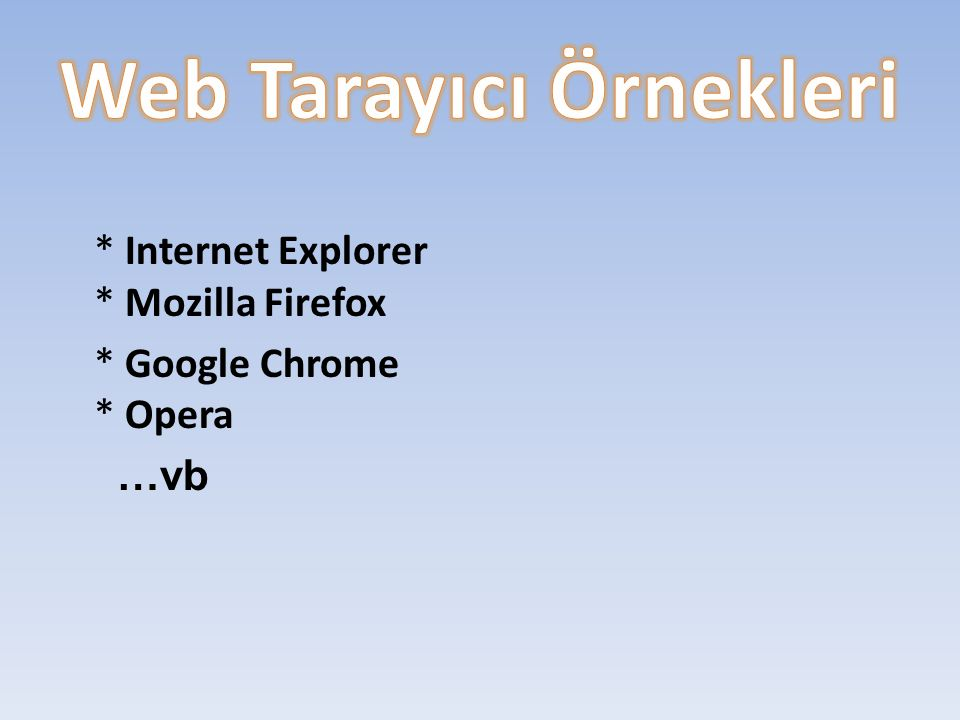 * Internet Explorer * Mozilla Firefox * Google Chrome * Opera …vb