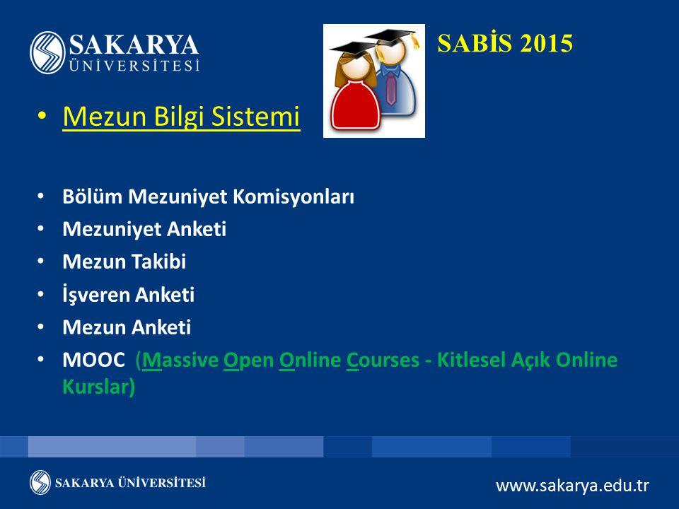 www.sakarya.edu.tr SABİS 2015 Mezun Bilgi Sistemi Bölüm Mezuniyet Komisyonları Mezuniyet Anketi Mezun Takibi İşveren Anketi Mezun Anketi MOOC (Massive