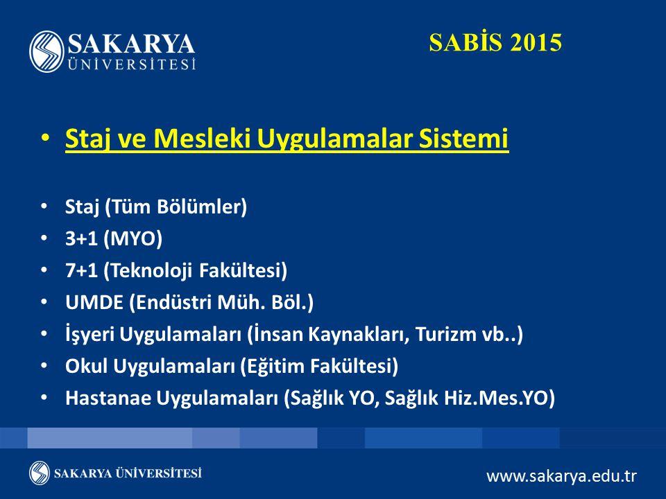 www.sakarya.edu.tr SABİS 2015 Staj ve Mesleki Uygulamalar Sistemi Staj (Tüm Bölümler) 3+1 (MYO) 7+1 (Teknoloji Fakültesi) UMDE (Endüstri Müh. Böl.) İş