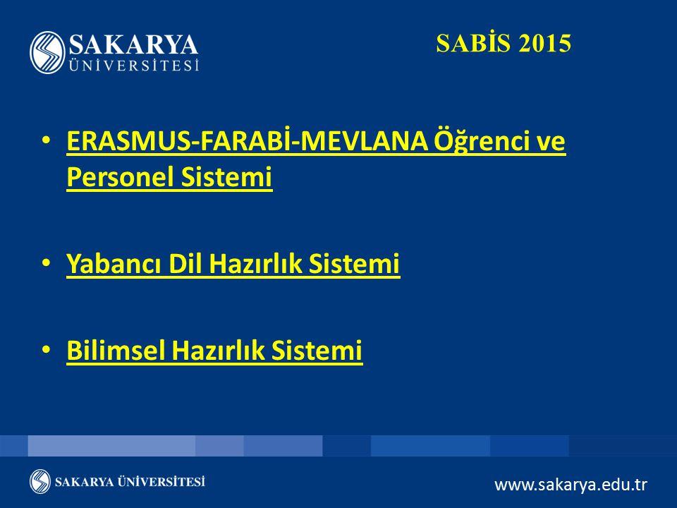 www.sakarya.edu.tr SABİS 2015 ERASMUS-FARABİ-MEVLANA Öğrenci ve Personel Sistemi Yabancı Dil Hazırlık Sistemi Bilimsel Hazırlık Sistemi