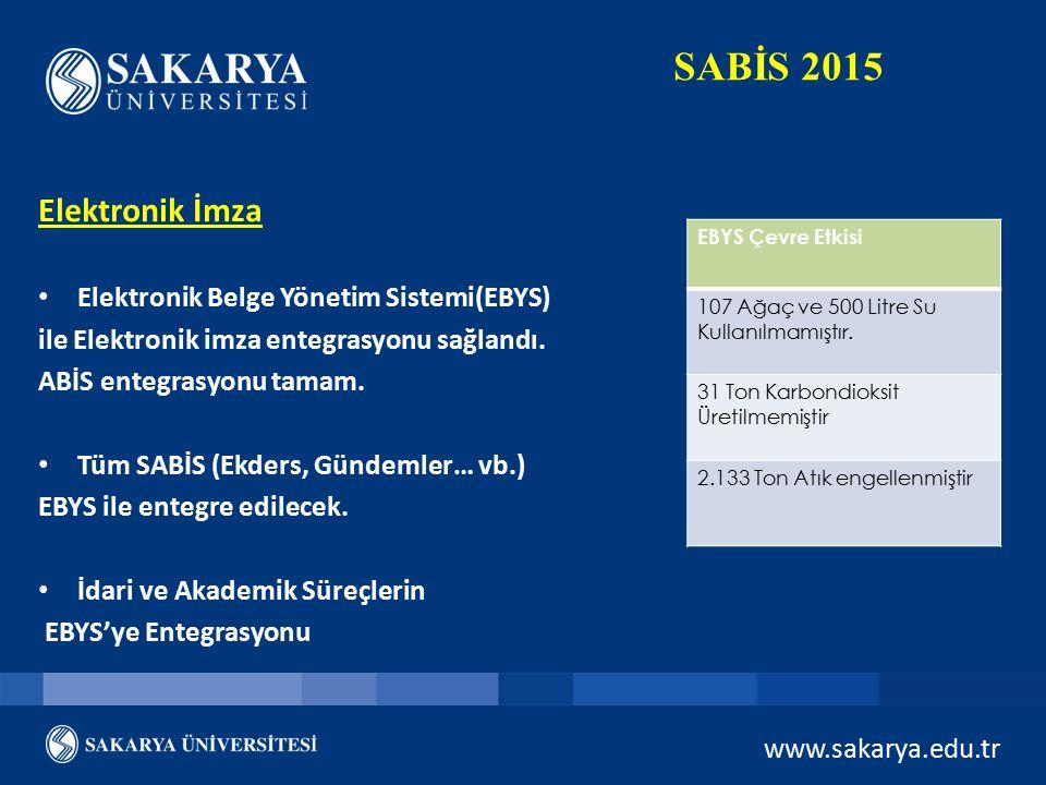 www.sakarya.edu.tr SABİS 2015 Elektronik İmza Elektronik Belge Yönetim Sistemi(EBYS) ile Elektronik imza entegrasyonu sağlandı. ABİS entegrasyonu tama