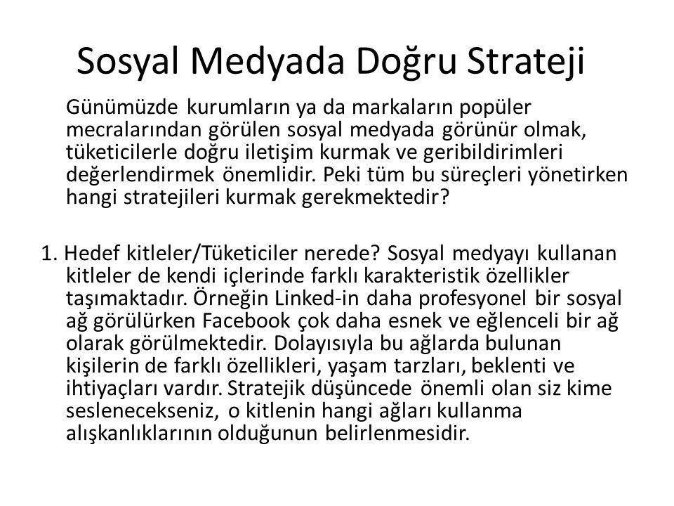 Sosyal Medyada Doğru Strateji Günümüzde kurumların ya da markaların popüler mecralarından görülen sosyal medyada görünür olmak, tüketicilerle doğru il