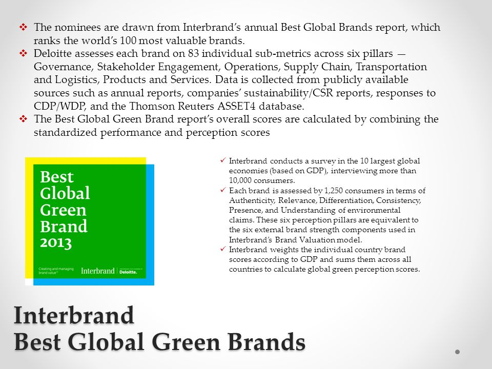 Interbrand Best Global Green Brands  The nominees are drawn from Interbrand's annual Best Global Brands report, which ranks the world's 100 most valu