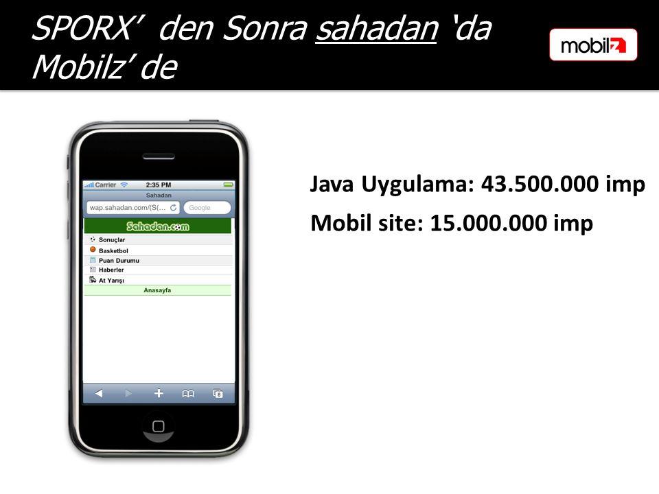 Mobil site: 15.000.000 imp SPORX' den Sonra sahadan 'da Mobilz' de Java Uygulama: 43.500.000 imp