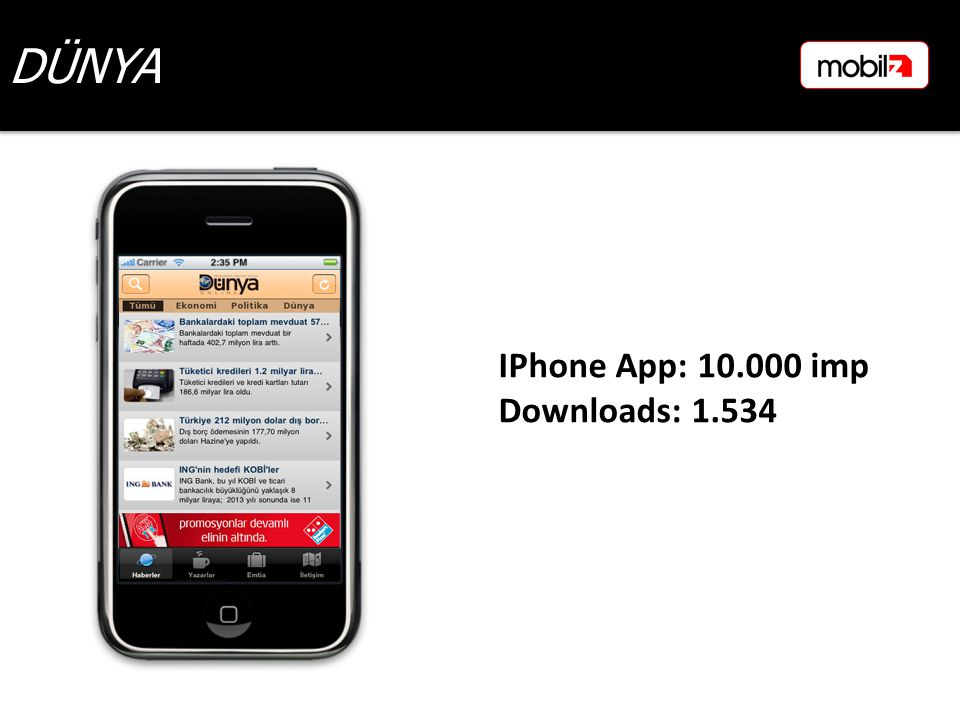 DÜNYA IPhone App: 10.000 imp Downloads: 1.534