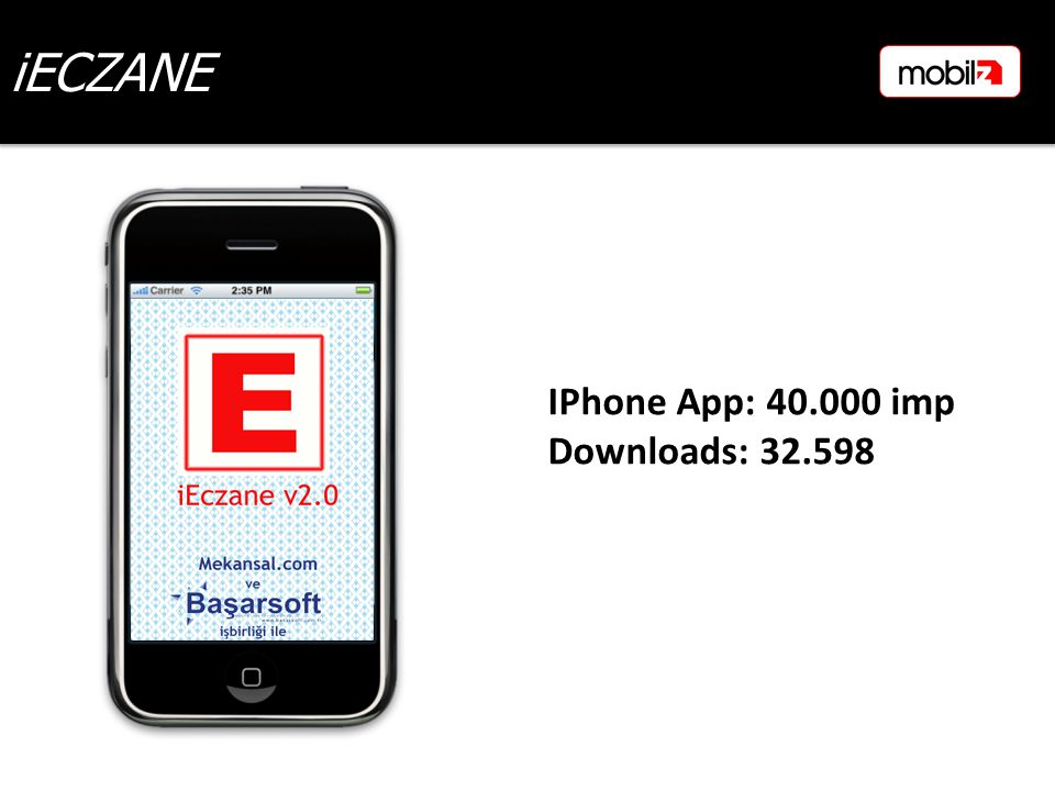 iECZANE IPhone App: 40.000 imp Downloads: 32.598