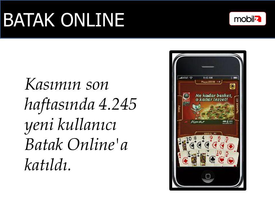 BATAK ONLINE Kasımın son haftasında 4.245 yeni kullanıcı Batak Online a katıldı.