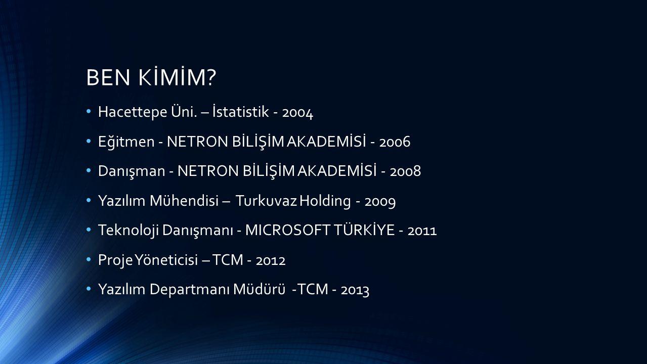 BEN KİMİM? Hacettepe Üni. – İstatistik - 2004 Eğitmen - NETRON BİLİŞİM AKADEMİSİ - 2006 Danışman - NETRON BİLİŞİM AKADEMİSİ - 2008 Yazılım Mühendisi –