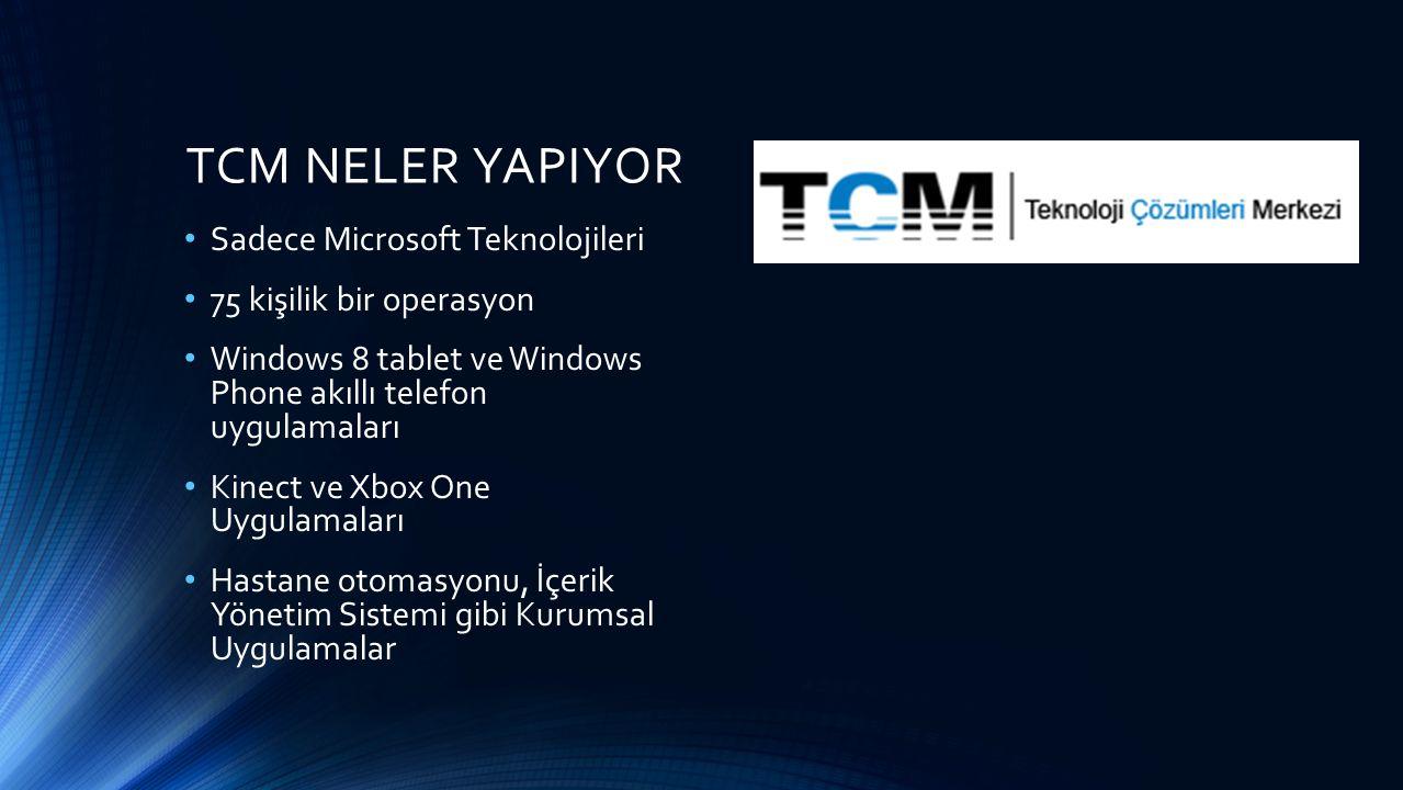 TCM NELER YAPIYOR Sadece Microsoft Teknolojileri 75 kişilik bir operasyon Windows 8 tablet ve Windows Phone akıllı telefon uygulamaları Kinect ve Xbox