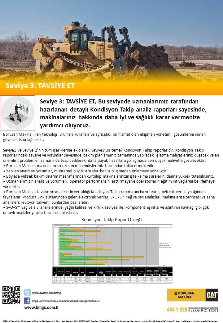 Seviye 3: TAVSİYE ET Seviye 3: TAVSİYE ET, Bu seviyede uzmanlarımız tarafından hazırlanan detaylı Kondisyon Takip analiz raporları sayesinde, makinalarınız hakkında daha iyi ve sağlıklı karar vermenize yardımcı oluyoruz.