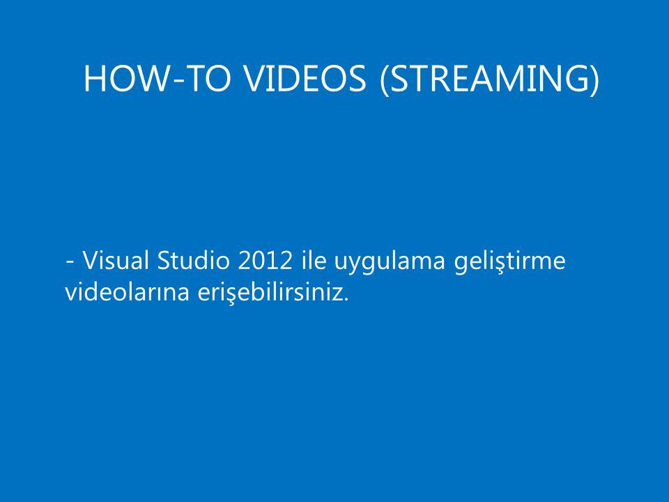 HOW-TO VIDEOS (STREAMING) - Visual Studio 2012 ile uygulama geliştirme videolarına erişebilirsiniz.