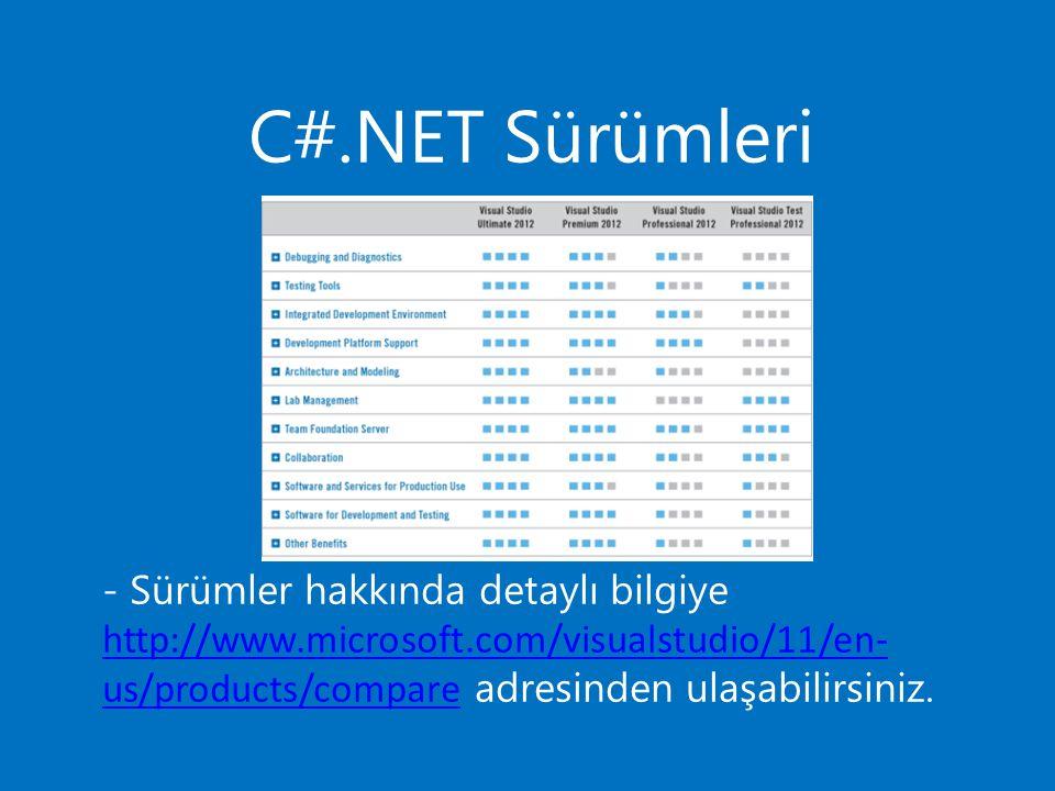C#.NET Sürümleri - Sürümler hakkında detaylı bilgiye http://www.microsoft.com/visualstudio/11/en- us/products/compare adresinden ulaşabilirsiniz. http