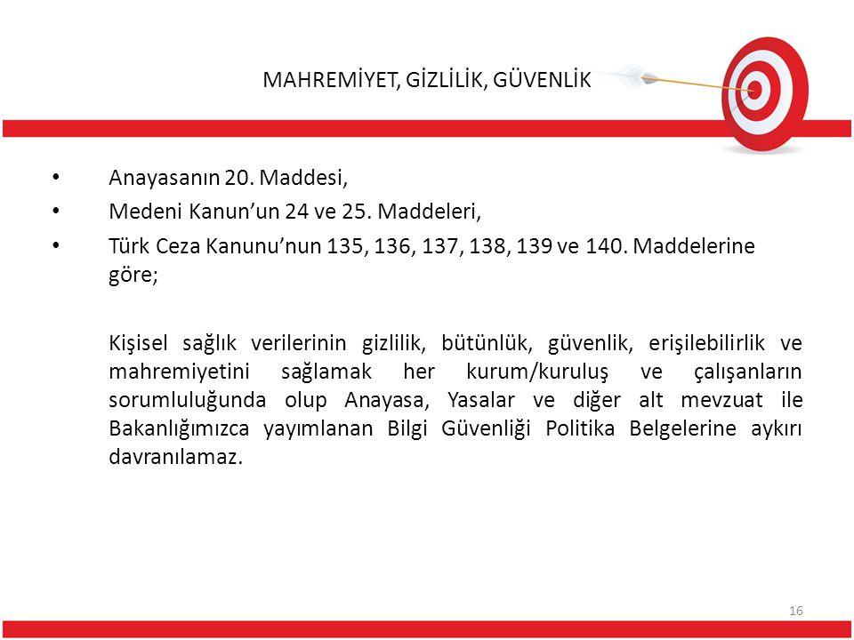MAHREMİYET, GİZLİLİK, GÜVENLİK Anayasanın 20. Maddesi, Medeni Kanun'un 24 ve 25. Maddeleri, Türk Ceza Kanunu'nun 135, 136, 137, 138, 139 ve 140. Madde