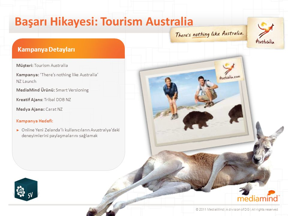 © 2011 MediaMind | A division of DG | All rights reserved Başarı Hikayesi: Tourism Australia Animation if needed Is Fade - very fast Kampanya Detayları Müşteri: Tourism Australia Kampanya: 'There's nothing like Australia' NZ Launch MediaMind Ürünü: Smart Versioning Kreatif Ajans: Tribal DDB NZ Medya Ajansı: Carat NZ Kampanya Hedefi: ► Online Yeni Zelanda'lı kullanıcıların Avustralya'daki deneyimlerini paylaşmalarını sağlamak