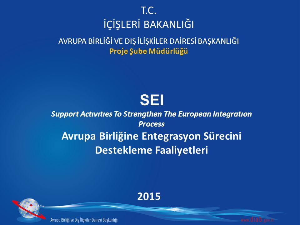 T.C. İÇİŞLERİ BAKANLIĞI AVRUPA BİRLİĞİ VE DIŞ İLİŞKİLER DAİRESİ BAŞKANLIĞI Proje Şube Müdürlüğü SEI Support Actıvıtıes To Strengthen The European Inte