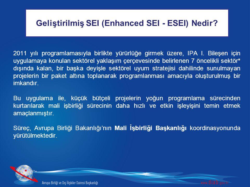 Geliştirilmiş SEI (Enhanced SEI - ESEI) Nedir? * 2011 yılı programlamasıyla birlikte yürürlüğe girmek üzere, IPA I. Bileşen için uygulamaya konulan se
