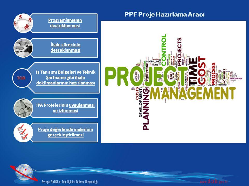 PPF Proje Hazırlama Aracı Programlamanın desteklenmesi İhale sürecinin desteklenmesi İş Tanıtımı Belgeleri ve Teknik Şartname gibi ihale dokümanlarını