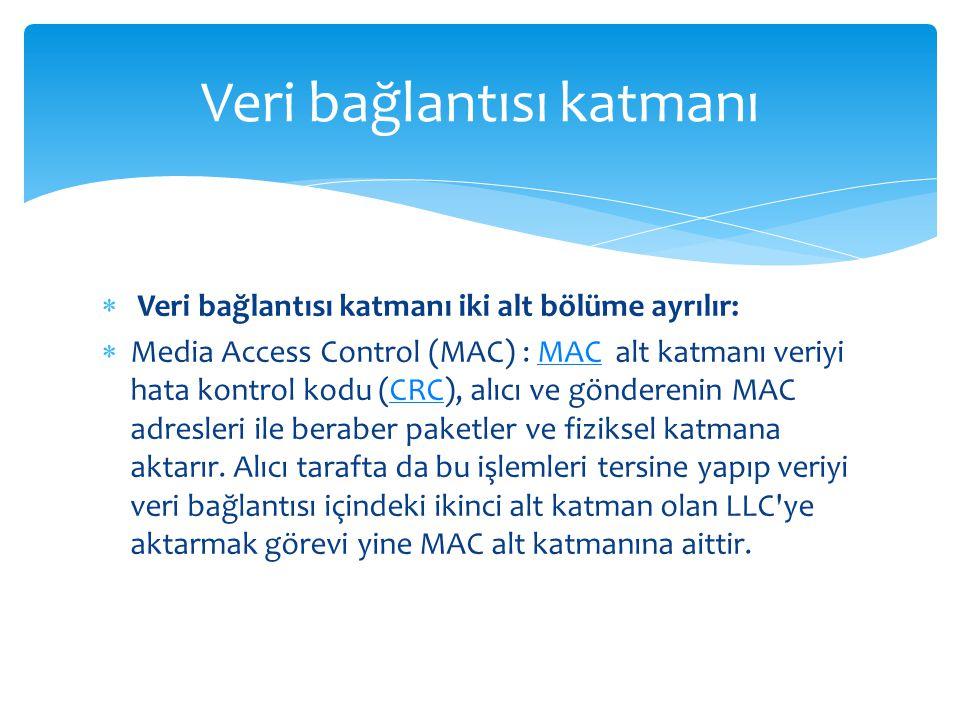  Veri bağlantısı katmanı iki alt bölüme ayrılır:  Media Access Control (MAC) : MAC alt katmanı veriyi hata kontrol kodu (CRC), alıcı ve gönderenin MAC adresleri ile beraber paketler ve fiziksel katmana aktarır.