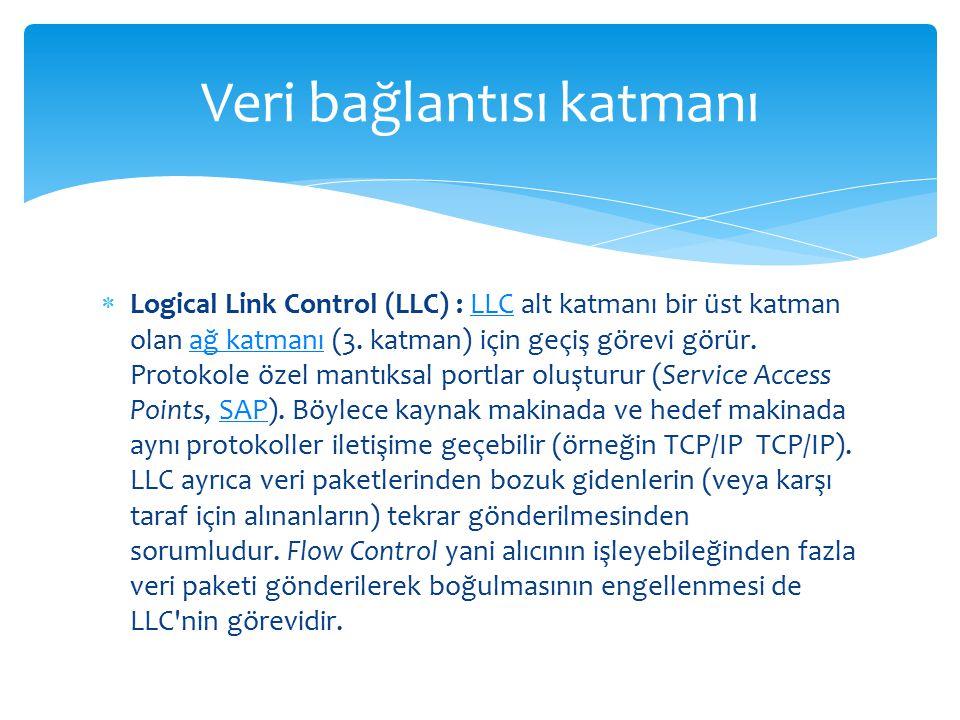  Logical Link Control (LLC) : LLC alt katmanı bir üst katman olan ağ katmanı (3. katman) için geçiş görevi görür. Protokole özel mantıksal portlar ol