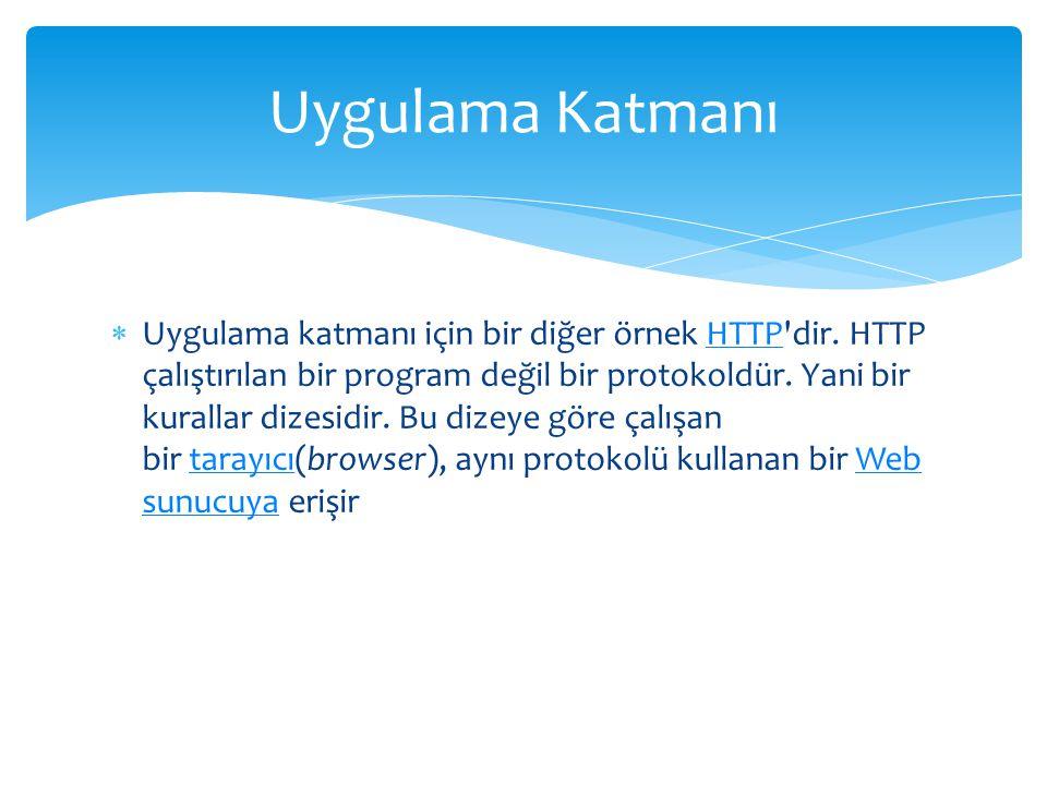  Uygulama katmanı için bir diğer örnek HTTP'dir. HTTP çalıştırılan bir program değil bir protokoldür. Yani bir kurallar dizesidir. Bu dizeye göre çal