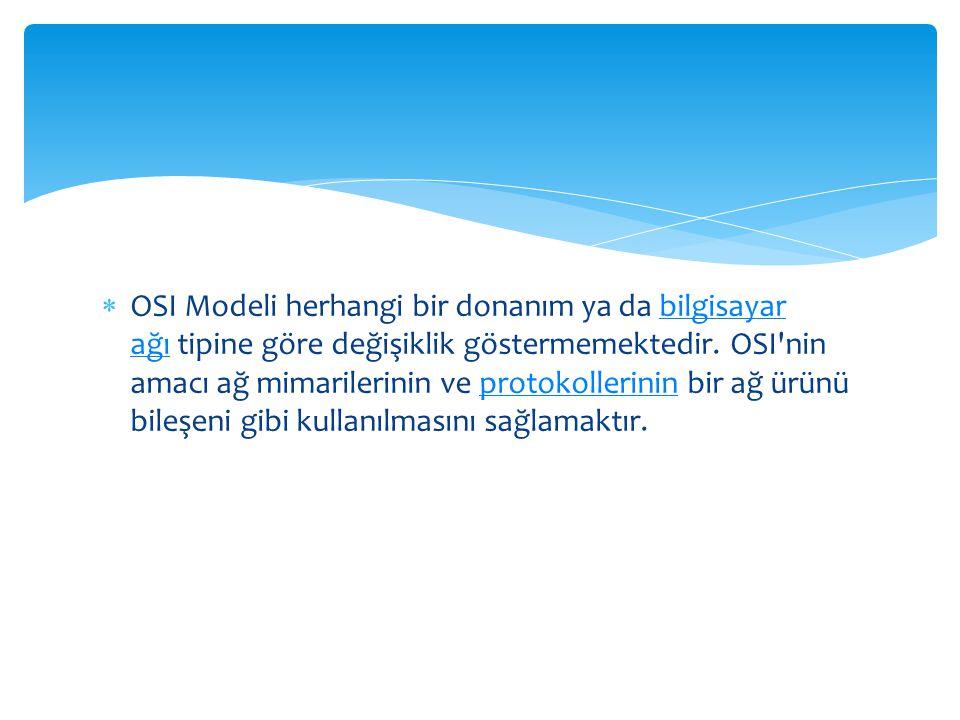  OSI Modeli herhangi bir donanım ya da bilgisayar ağı tipine göre değişiklik göstermemektedir. OSI'nin amacı ağ mimarilerinin ve protokollerinin bir
