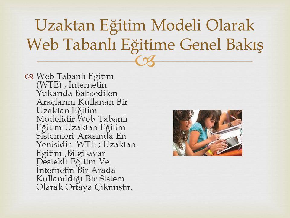  Uzaktan Eğitim Modeli Olarak Web Tabanlı Eğitime Genel Bakış  Web Tabanlı Eğitim (WTE), İnternetin Yukarıda Bahsedilen Araçlarını Kullanan Bir Uzaktan Eğitim Modelidir.Web Tabanlı Eğitim Uzaktan Eğitim Sistemleri Arasında En Yenisidir.