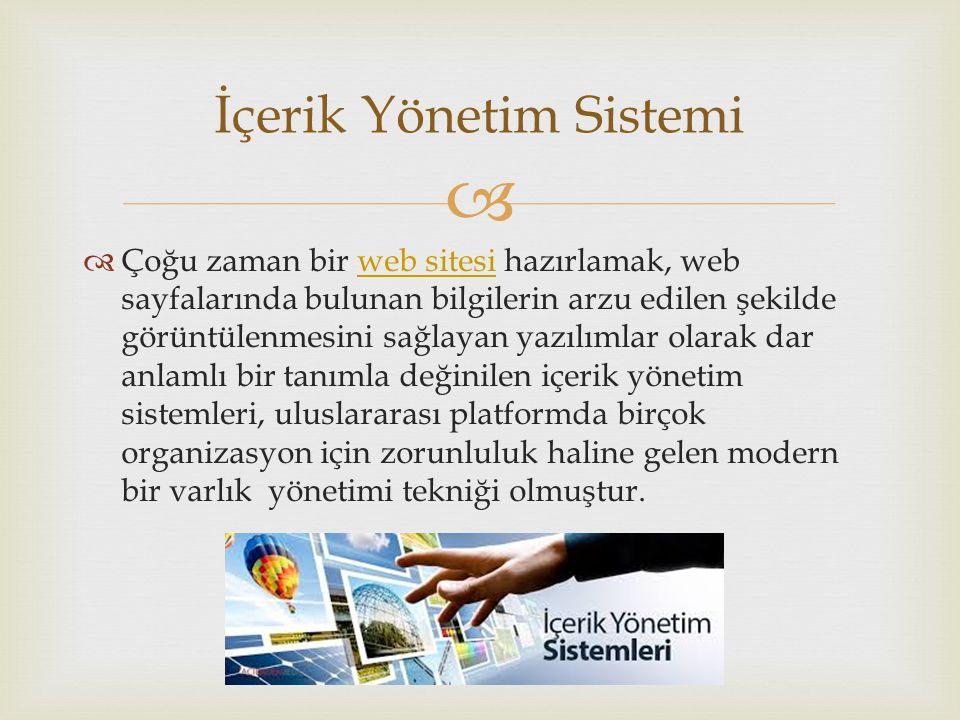   Çoğu zaman bir web sitesi hazırlamak, web sayfalarında bulunan bilgilerin arzu edilen şekilde görüntülenmesini sağlayan yazılımlar olarak dar anlamlı bir tanımla değinilen içerik yönetim sistemleri, uluslararası platformda birçok organizasyon için zorunluluk haline gelen modern bir varlık yönetimi tekniği olmuştur.web sitesi İçerik Yönetim Sistemi