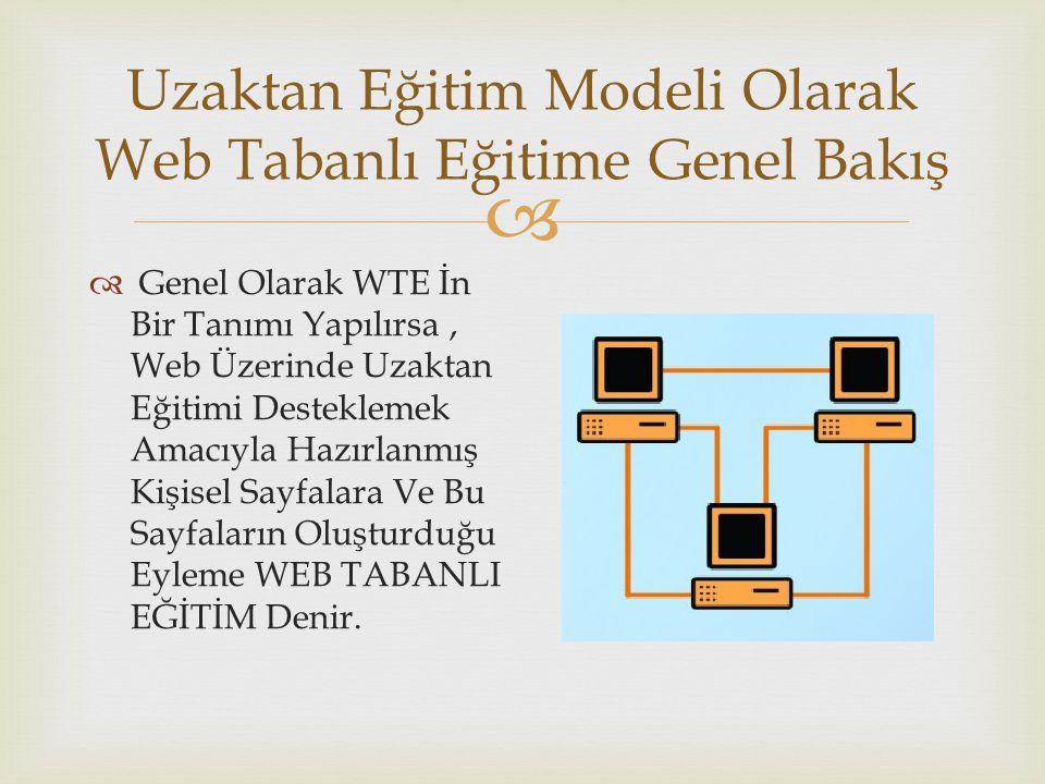  Uzaktan Eğitim Modeli Olarak Web Tabanlı Eğitime Genel Bakış  Genel Olarak WTE İn Bir Tanımı Yapılırsa, Web Üzerinde Uzaktan Eğitimi Desteklemek Am