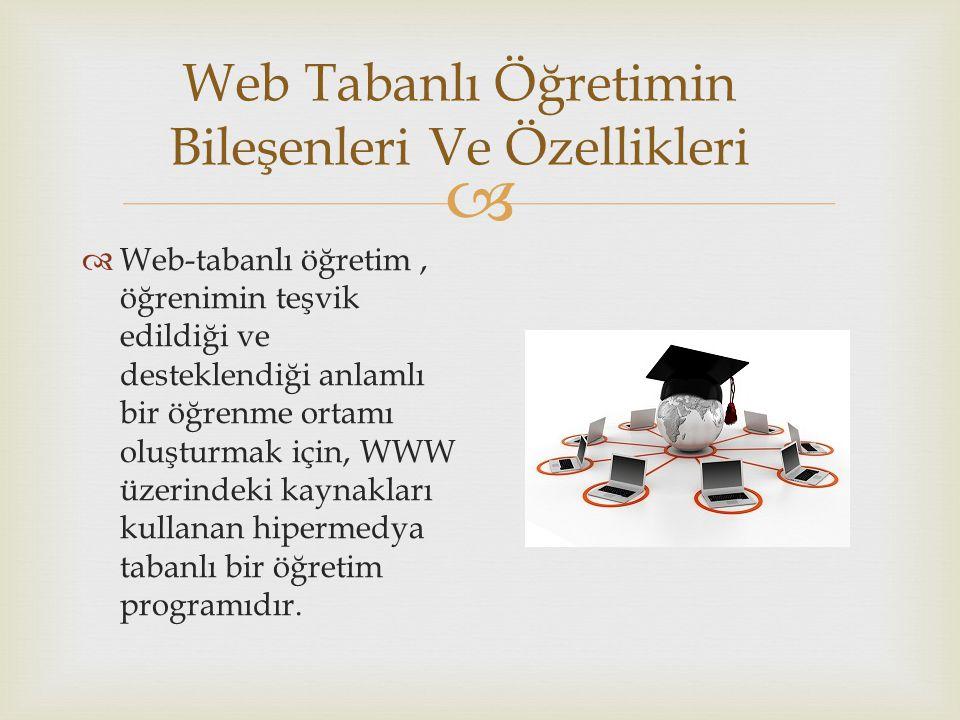  Web Tabanlı Öğretimin Bileşenleri Ve Özellikleri  Web-tabanlı öğretim, öğrenimin teşvik edildiği ve desteklendiği anlamlı bir öğrenme ortamı oluştu