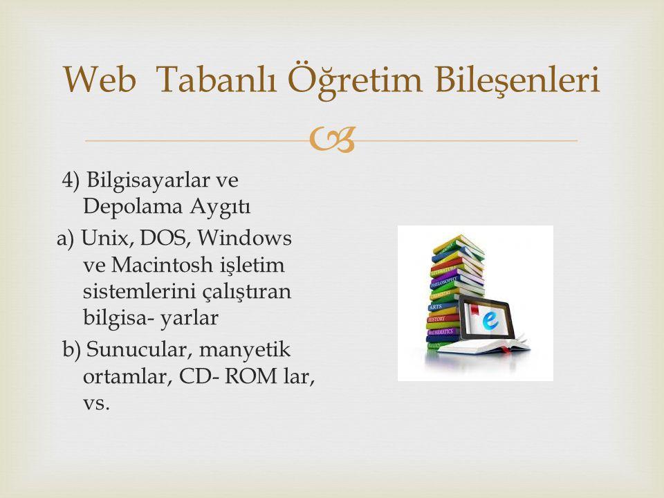  Web Tabanlı Öğretim Bileşenleri 4) Bilgisayarlar ve Depolama Aygıtı a) Unix, DOS, Windows ve Macintosh işletim sistemlerini çalıştıran bilgisa- yarlar b) Sunucular, manyetik ortamlar, CD- ROM lar, vs.