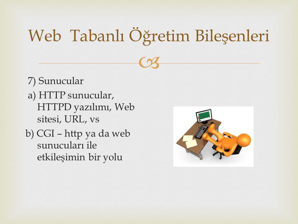  Web Tabanlı Öğretim Bileşenleri 7) Sunucular a) HTTP sunucular, HTTPD yazılımı, Web sitesi, URL, vs b) CGI – http ya da web sunucuları ile etkileşimin bir yolu