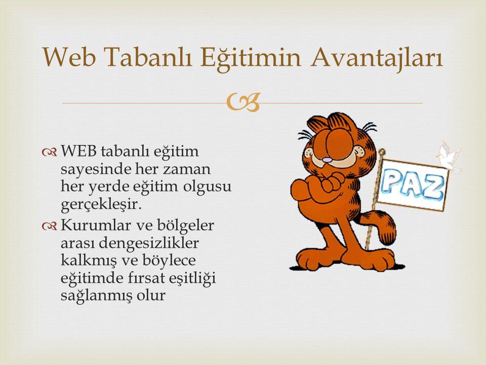  Web Tabanlı Eğitimin Avantajları  WEB tabanlı eğitim sayesinde her zaman her yerde eğitim olgusu gerçekleşir.