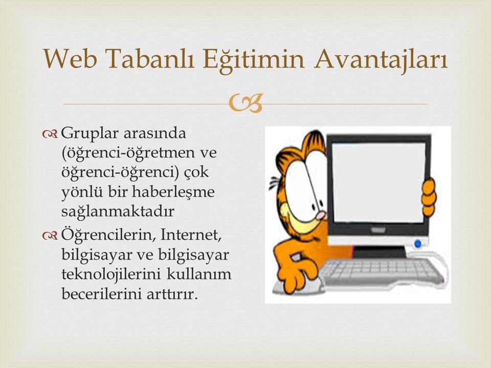  Web Tabanlı Eğitimin Avantajları  Gruplar arasında (öğrenci-öğretmen ve öğrenci-öğrenci) çok yönlü bir haberleşme sağlanmaktadır  Öğrencilerin, Internet, bilgisayar ve bilgisayar teknolojilerini kullanım becerilerini arttırır.