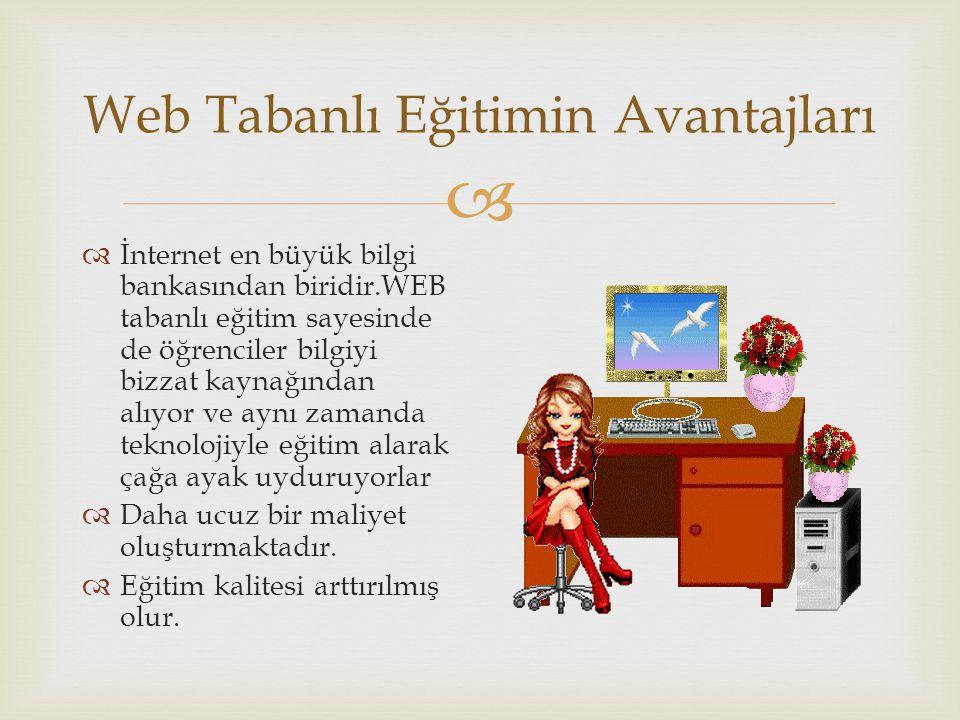  Web Tabanlı Eğitimin Avantajları  İnternet en büyük bilgi bankasından biridir.WEB tabanlı eğitim sayesinde de öğrenciler bilgiyi bizzat kaynağından