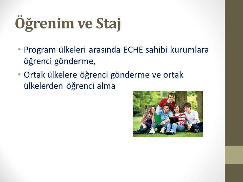 Öğrenim ve Staj Program ülkeleri arasında ECHE sahibi kurumlara öğrenci gönderme, Ortak ülkelere öğrenci gönderme ve ortak ülkelerden öğrenci alma