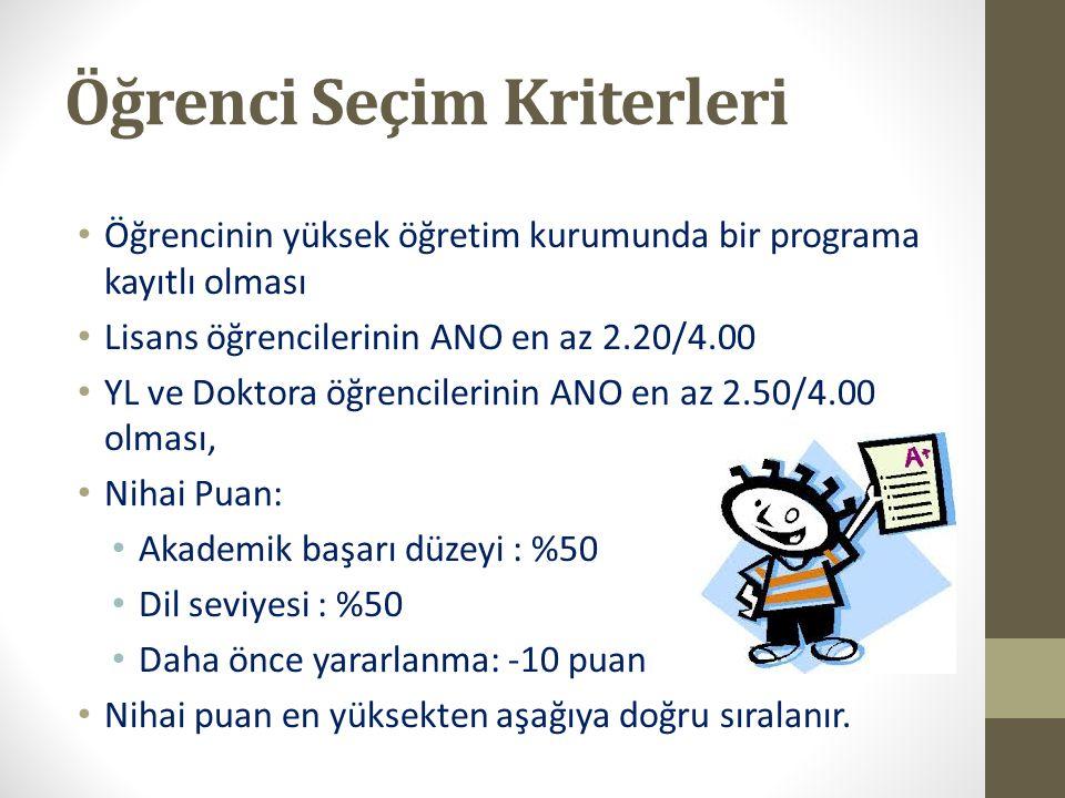 Öğrenci Seçim Kriterleri Öğrencinin yüksek öğretim kurumunda bir programa kayıtlı olması Lisans öğrencilerinin ANO en az 2.20/4.00 YL ve Doktora öğren