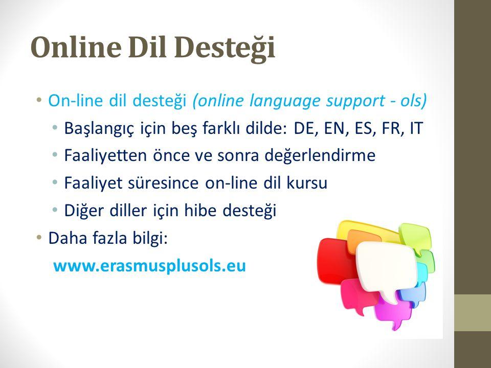 Online Dil Desteği On-line dil desteği (online language support - ols) Başlangıç için beş farklı dilde: DE, EN, ES, FR, IT Faaliyetten önce ve sonra d