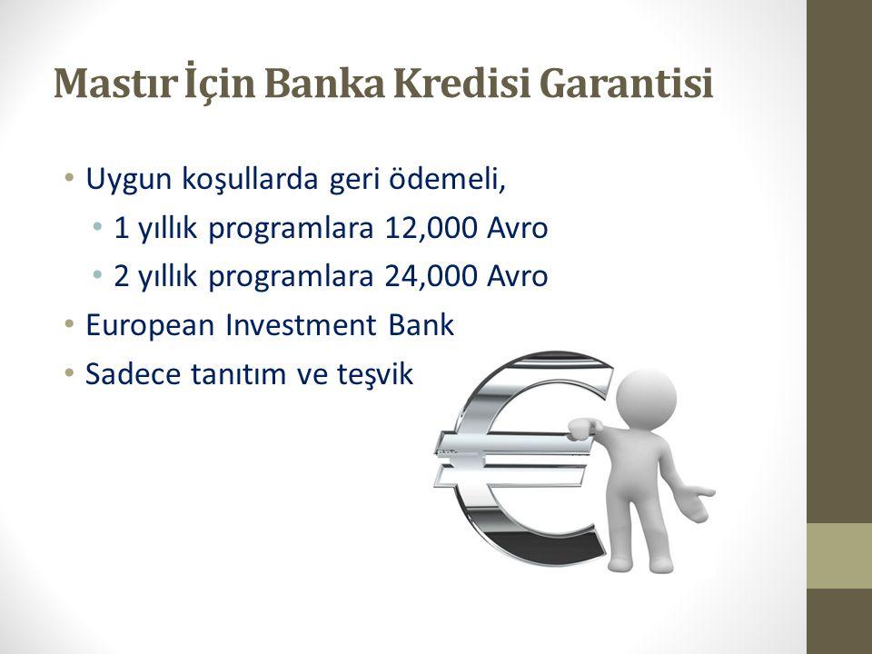Mastır İçin Banka Kredisi Garantisi Uygun koşullarda geri ödemeli, 1 yıllık programlara 12,000 Avro 2 yıllık programlara 24,000 Avro European Investme