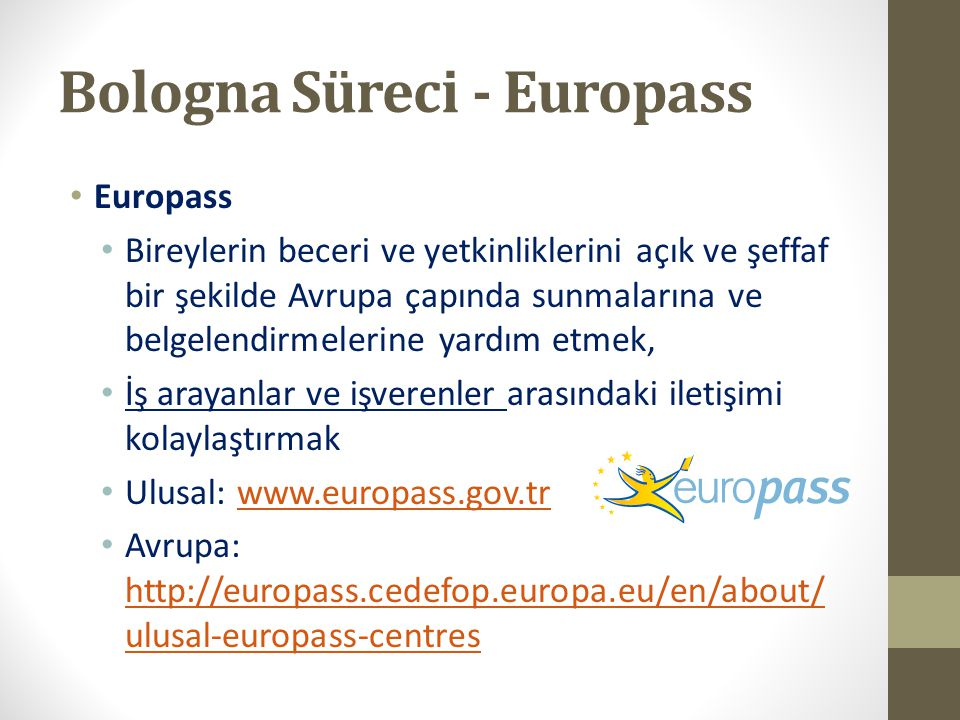 Bologna Süreci - Europass Europass Bireylerin beceri ve yetkinliklerini açık ve şeffaf bir şekilde Avrupa çapında sunmalarına ve belgelendirmelerine y