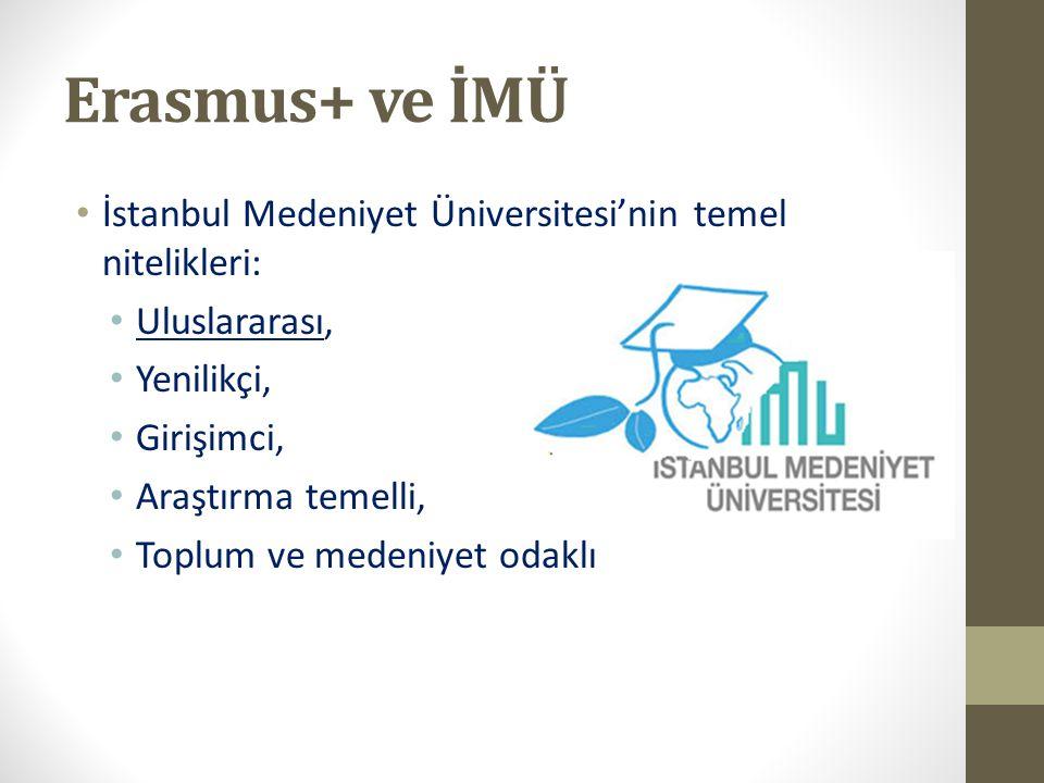 Erasmus+ ve İMÜ İstanbul Medeniyet Üniversitesi'nin temel nitelikleri: Uluslararası, Yenilikçi, Girişimci, Araştırma temelli, Toplum ve medeniyet odak